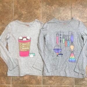 Set of 2 Long Sleeve Tees - Girl Power & Cat Cocoa